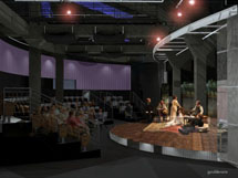 Renderings of the relocated Purple Masque Theatre