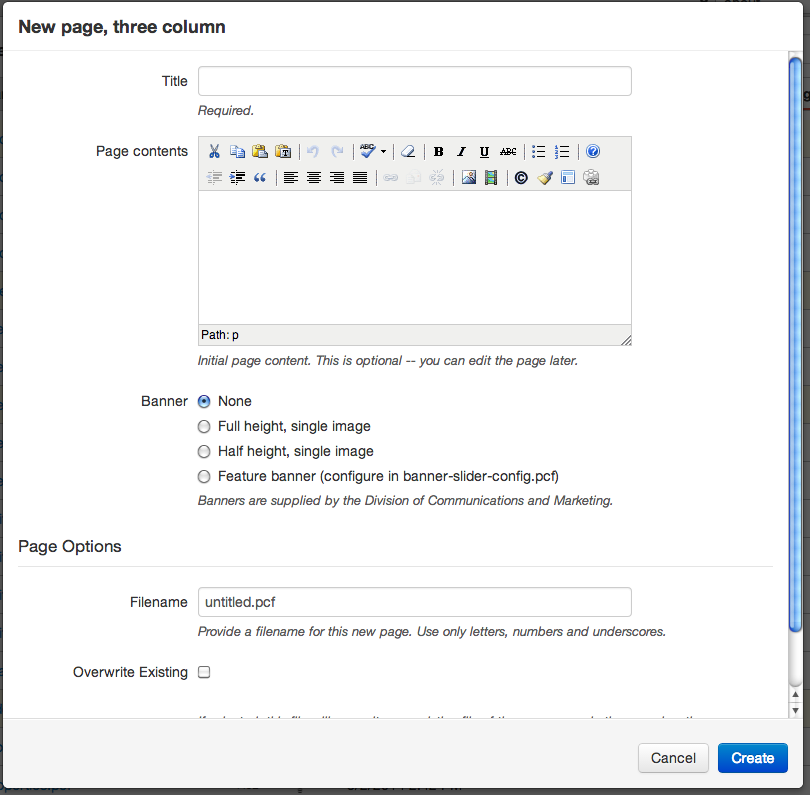 Image showing the options that need to be filled out when creating a new page.