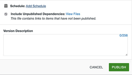 Include Unpublished Dependencies checkbox