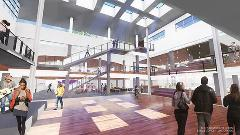 An architectural rendering of what the inside of the K-State Student Union will look like, overlooking the Courtyard from the ground floor.