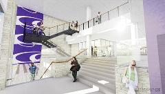 An architectural rendering of the inside of the south entrance of the K-State Student Union.
