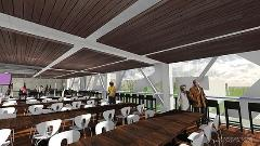 An architectural rendering of proposed dining space.