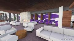 An architectural rendering of proposed student lounge space.