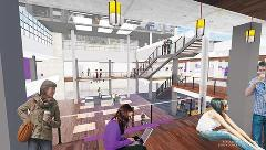 An architectural rendering of what the inside of the K-State Student Union will look like, overlooking the Courtyard from the main floor.